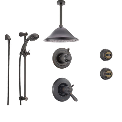 Delta Lahara Venetian Bronze Shower System with Thermostatic Shower Handle, 6-setting Diverter, Large Ceiling Mount Rain Showerhead, Handheld Shower, and 2 Body Sprays SS17T3894RB