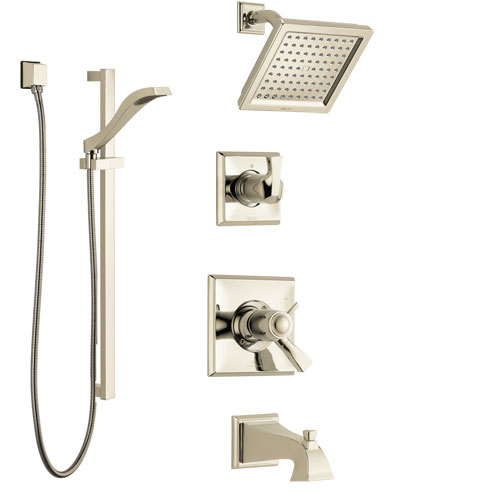 Delta Dryden Polished Nickel Tub and Shower System with Dual Thermostatic Control Handle, Diverter, Showerhead, and Hand Shower SS17T4511PN2
