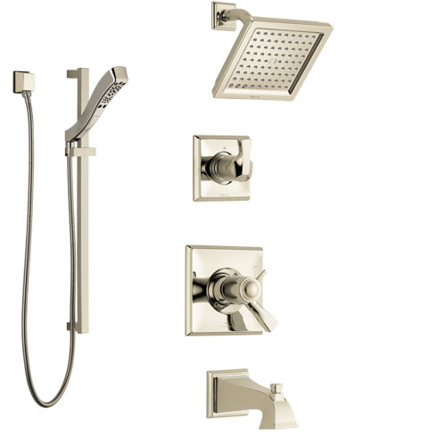 Delta Dryden Polished Nickel Tub and Shower System with Dual Thermostatic Control Handle, Diverter, Showerhead, and Hand Shower SS17T4511PN3
