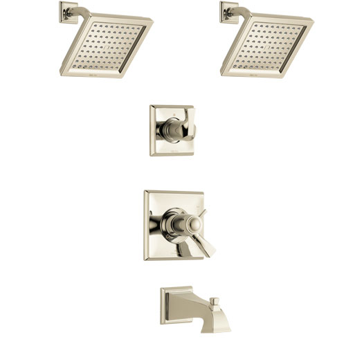 Delta Dryden Polished Nickel Finish Tub and Shower System with Dual Thermostatic Control Handle, 3-Setting Diverter, 2 Showerheads SS17T4511PN4
