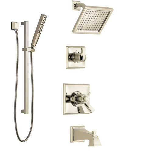Delta Dryden Polished Nickel Tub and Shower System with Dual Thermostatic Control Handle, Diverter, Showerhead, and Hand Shower SS17T4511PN5