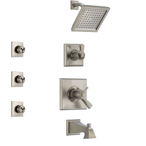 Delta Dryden Stainless Steel Finish Tub and Shower System with Dual Thermostatic Control Handle, Diverter, Showerhead, and 3 Body Sprays SS17T4511SS2