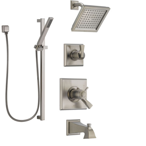 Delta Dryden Stainless Steel Finish Tub and Shower System with Dual Thermostatic Control Handle, Diverter, Showerhead, and Hand Shower SS17T4511SS4