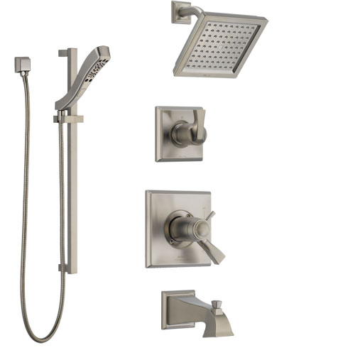 Delta Dryden Stainless Steel Finish Tub and Shower System with Dual Thermostatic Control Handle, Diverter, Showerhead, and Hand Shower SS17T4511SS5
