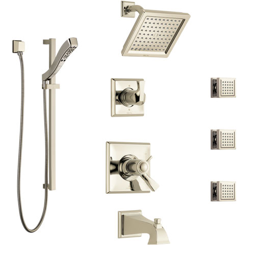 Delta Dryden Polished Nickel Tub and Shower System with Dual Thermostatic Control, Diverter, Showerhead, 3 Body Sprays, and Hand Shower SS17T4512PN2