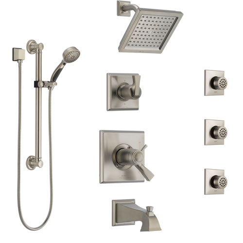 Delta Dryden Stainless Steel Finish Dual Thermostatic Control Tub and Shower System with Showerhead, 3 Body Jets, Grab Bar Hand Spray SS17T4512SS2