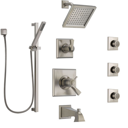 Delta Dryden Stainless Steel Finish Dual Thermostatic Control Tub and Shower System, Diverter, Showerhead, 3 Body Sprays, and Hand Shower SS17T4512SS3