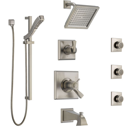 Delta Dryden Stainless Steel Finish Dual Thermostatic Control Tub and Shower System, Diverter, Showerhead, 3 Body Sprays, and Hand Shower SS17T4512SS6