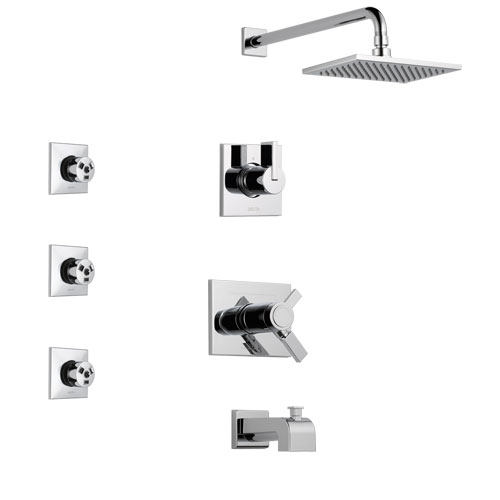 Delta Vero Chrome Finish Tub and Shower System with Dual Thermostatic Control Handle, 3-Setting Diverter, Showerhead, and 3 Body Sprays SS17T45312
