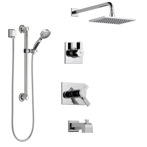 Delta Vero Chrome Finish Tub and Shower System with Dual Thermostatic Control Handle, Diverter, Showerhead, and Hand Shower with Grab Bar SS17T45313