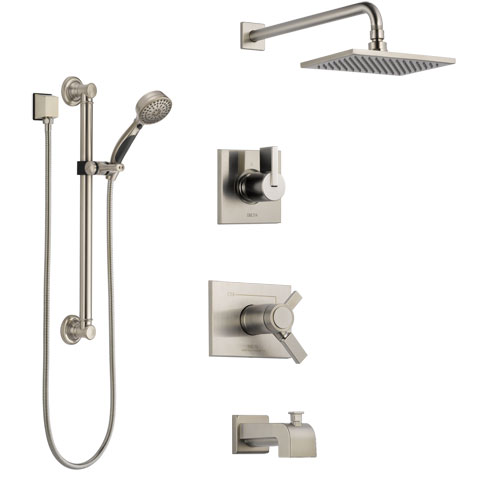 Delta Vero Stainless Steel Finish Dual Thermostatic Control Tub and Shower System, Diverter, Showerhead, and Hand Shower with Grab Bar SS17T4531SS3
