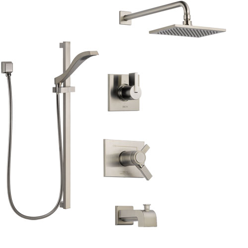 Delta Vero Stainless Steel Finish Tub and Shower System with Dual Thermostatic Control Handle, Diverter, Showerhead, and Hand Shower SS17T4531SS4