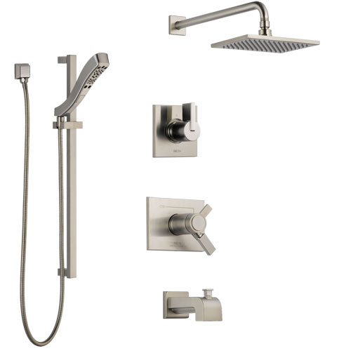 Delta Vero Stainless Steel Finish Tub and Shower System with Dual Thermostatic Control Handle, Diverter, Showerhead, and Hand Shower SS17T4531SS5