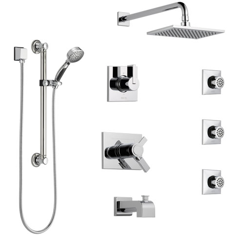 Delta Vero Chrome Tub and Shower System with Dual Thermostatic Control, Diverter, Showerhead, 3 Body Sprays, and Hand Shower with Grab Bar SS17T45321