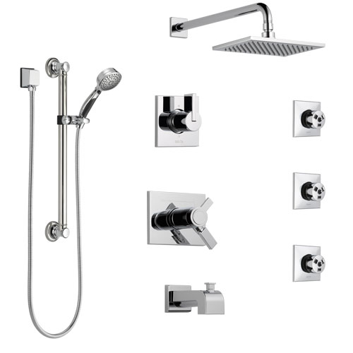 Delta Vero Chrome Tub and Shower System with Dual Thermostatic Control, Diverter, Showerhead, 3 Body Sprays, and Hand Shower with Grab Bar SS17T45322