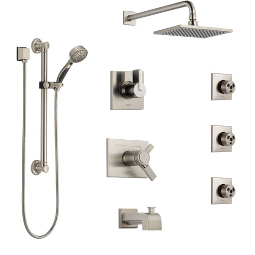 Delta Vero Stainless Steel Finish Dual Thermostatic Control Tub and Shower System, Diverter, Showerhead, 3 Body Jets, Grab Bar Hand Spray SS17T4532SS1