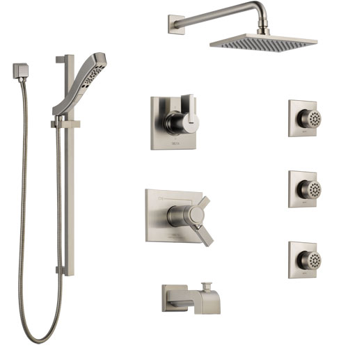 Delta Vero Stainless Steel Finish Dual Thermostatic Control Tub and Shower System, Diverter, Showerhead, 3 Body Sprays, and Hand Shower SS17T4532SS6