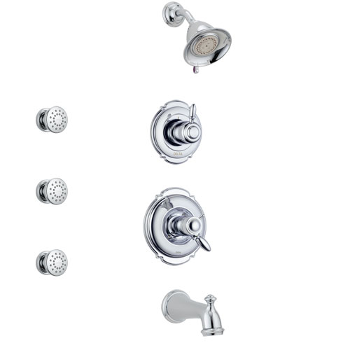 Delta Victorian Chrome Finish Tub and Shower System with Dual Thermostatic Control Handle, Diverter, Showerhead, and 3 Body Sprays SS17T45511