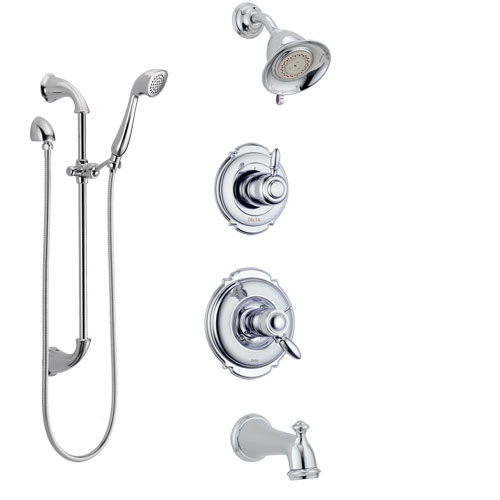 Delta Victorian Chrome Finish Tub and Shower System with Dual Thermostatic Control Handle, Diverter, Showerhead, and Hand Shower SS17T45514