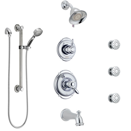 Delta Victorian Chrome Dual Thermostatic Control Tub and Shower System, Diverter, Showerhead, 3 Body Sprays, and Hand Shower with Grab Bar SS17T45521