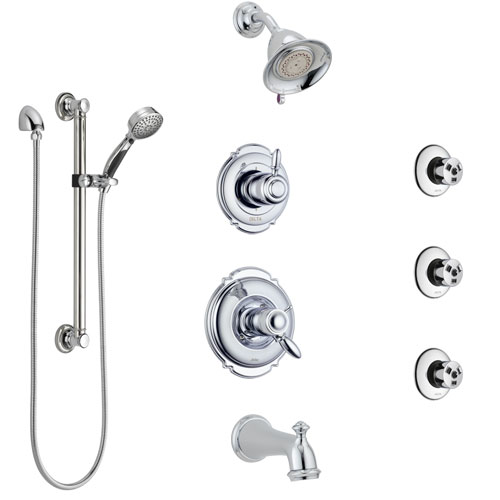 Delta Victorian Chrome Dual Thermostatic Control Tub and Shower System, Diverter, Showerhead, 3 Body Sprays, and Hand Shower with Grab Bar SS17T45522