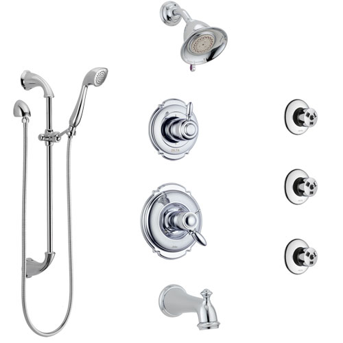 Delta Victorian Chrome Tub and Shower System with Dual Thermostatic Control, 6-Setting Diverter, Showerhead, 3 Body Sprays, and Hand Shower SS17T45523