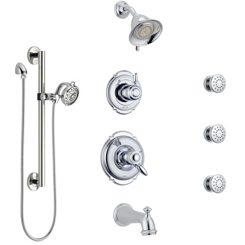 Delta Victorian Chrome Dual Thermostatic Control Tub and Shower System, Diverter, Showerhead, 3 Body Sprays, and Hand Shower with Grab Bar SS17T45525