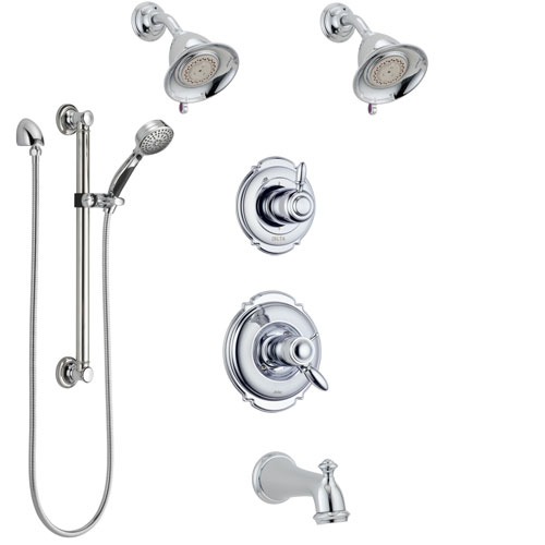 Delta Victorian Chrome Tub and Shower System with Dual Thermostatic Control, Diverter, 2 Showerheads, and Hand Shower with Grab Bar SS17T45526