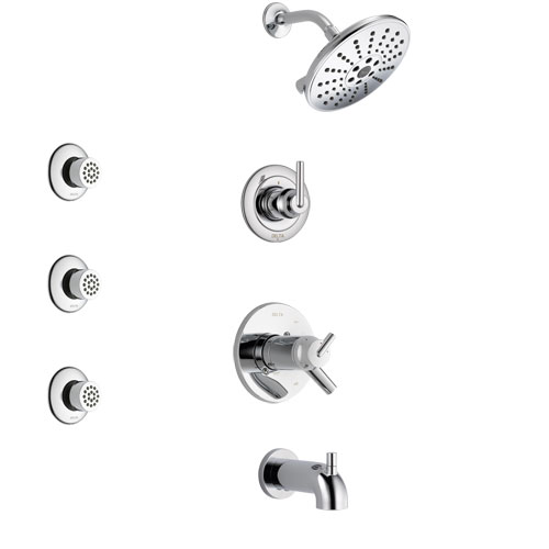 Delta Trinsic Chrome Finish Tub and Shower System with Dual Thermostatic Control Handle, 3-Setting Diverter, Showerhead, and 3 Body Sprays SS17T45921