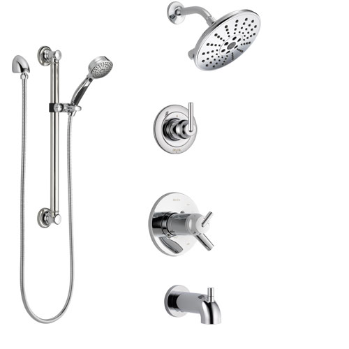 Delta Trinsic Chrome Tub and Shower System with Dual Thermostatic Control Handle, Diverter, Showerhead, and Hand Shower with Grab Bar SS17T45923