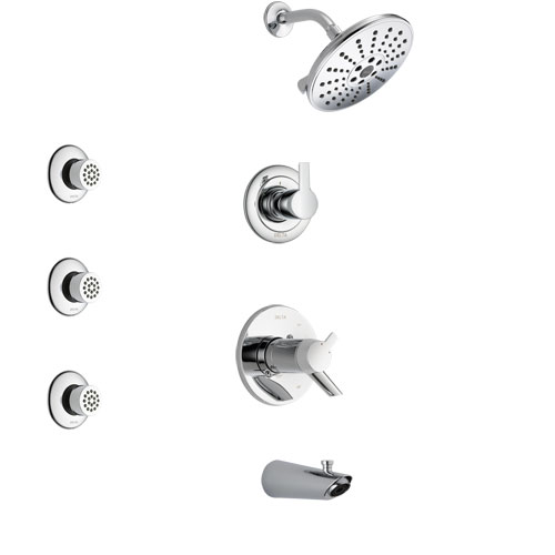 Delta Compel Chrome Finish Tub and Shower System with Dual Thermostatic Control Handle, 3-Setting Diverter, Showerhead, and 3 Body Sprays SS17T46111