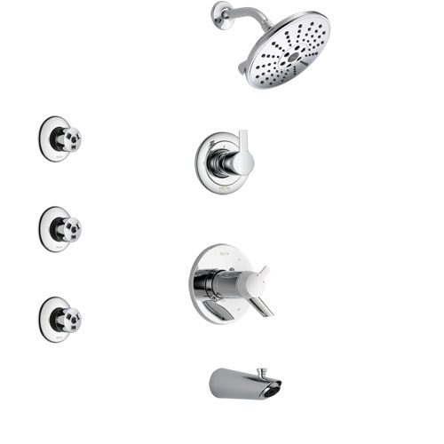 Delta Compel Chrome Finish Tub and Shower System with Dual Thermostatic Control Handle, 3-Setting Diverter, Showerhead, and 3 Body Sprays SS17T46112