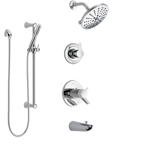 Delta Compel Chrome Finish Tub and Shower System with Dual Thermostatic Control Handle, Diverter, Showerhead, and Hand Shower with Slidebar SS17T46115