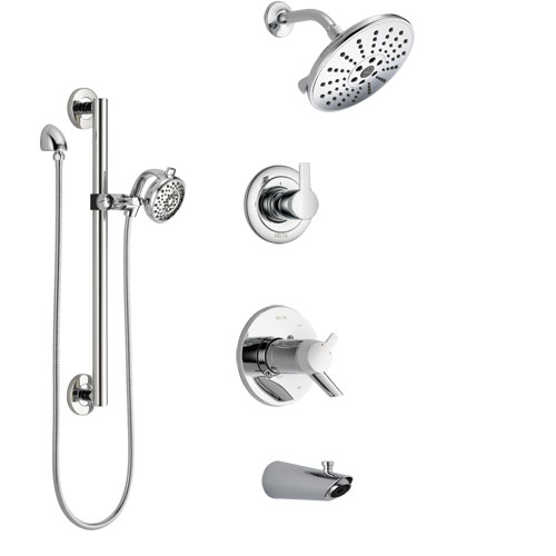 Delta Compel Chrome Finish Tub and Shower System with Dual Thermostatic Control Handle, Diverter, Showerhead, and Hand Shower with Grab Bar SS17T46116