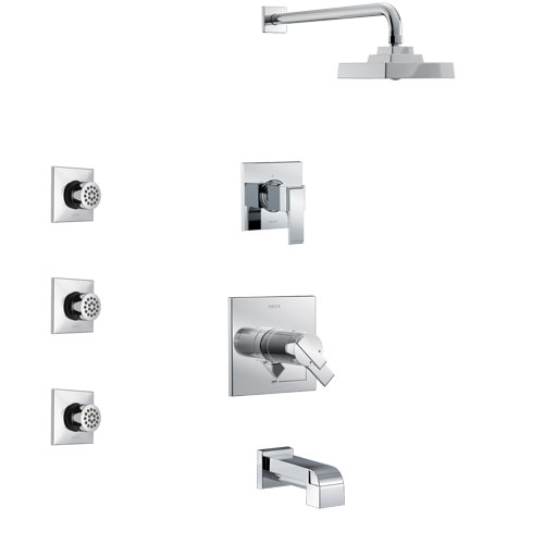 Delta Ara Chrome Finish Tub and Shower System with Dual Thermostatic Control Handle, 3-Setting Diverter, Showerhead, and 3 Body Sprays SS17T46711