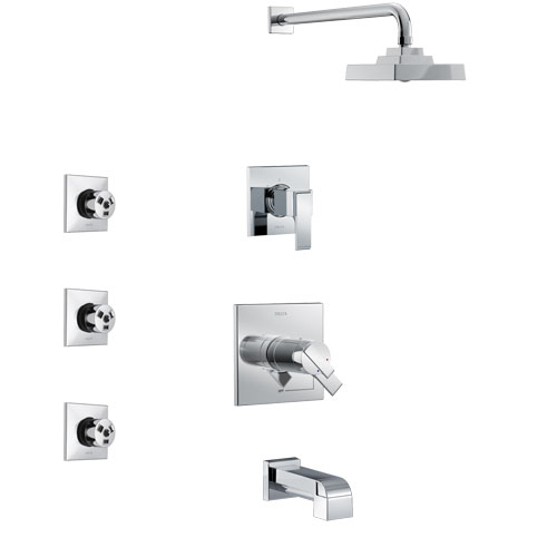 Delta Ara Chrome Finish Tub and Shower System with Dual Thermostatic Control Handle, 3-Setting Diverter, Showerhead, and 3 Body Sprays SS17T46712
