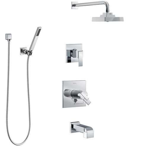 Delta Ara Chrome Tub and Shower System with Dual Thermostatic Control Handle, Diverter, Showerhead, and Hand Shower with Wall Bracket SS17T46714