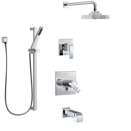 Delta Ara Chrome Finish Tub and Shower System with Dual Thermostatic Control Handle, Diverter, Showerhead, and Hand Shower with Slidebar SS17T46715