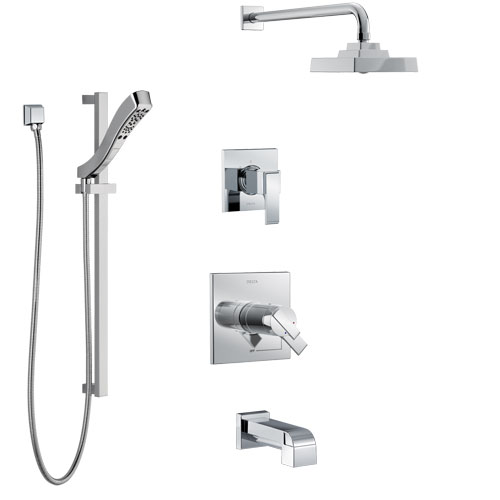 Delta Ara Chrome Finish Tub and Shower System with Dual Thermostatic Control Handle, Diverter, Showerhead, and Hand Shower with Slidebar SS17T46716