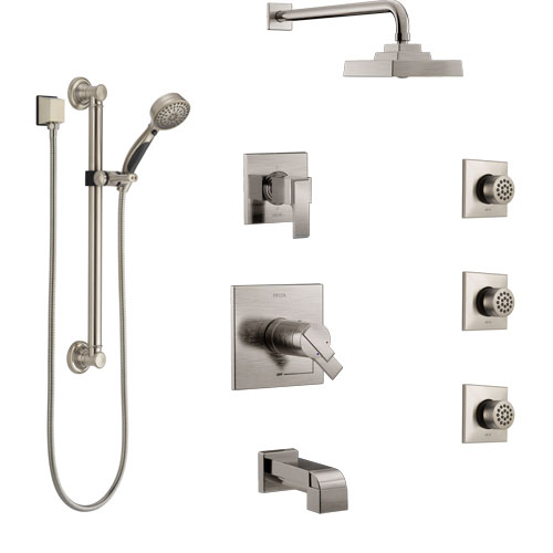 Delta Ara Stainless Steel Finish Dual Thermostatic Control Tub and Shower System, Diverter, Showerhead, 3 Body Jets, Grab Bar Hand Spray SS17T4671SS1
