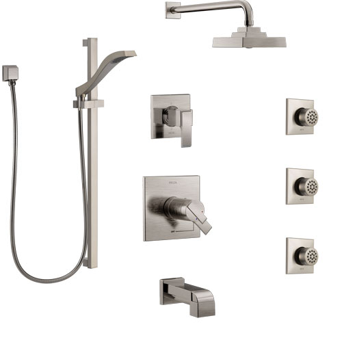 Delta Ara Stainless Steel Finish Dual Thermostatic Control Tub and Shower System, Diverter, Showerhead, 3 Body Sprays, and Hand Shower SS17T4671SS4