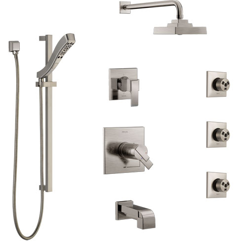 Delta Ara Stainless Steel Finish Dual Thermostatic Control Tub and Shower System, Diverter, Showerhead, 3 Body Sprays, and Hand Shower SS17T4671SS6