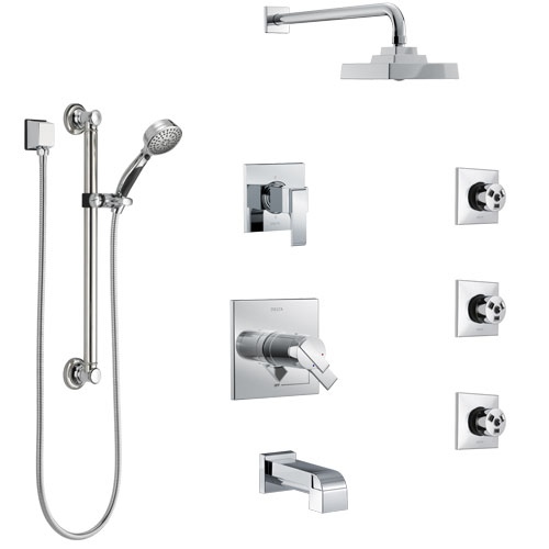 Delta Ara Chrome Tub and Shower System with Dual Thermostatic Control, Diverter, Showerhead, 3 Body Sprays, and Hand Shower with Grab Bar SS17T46721