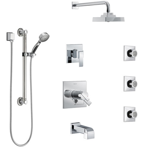Delta Ara Chrome Tub and Shower System with Dual Thermostatic Control, Diverter, Showerhead, 3 Body Sprays, and Hand Shower with Grab Bar SS17T46722