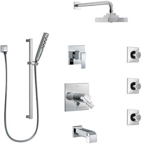 Delta Ara Chrome Tub and Shower System with Dual Thermostatic Control, 6-Setting Diverter, Showerhead, 3 Body Sprays, and Hand Shower SS17T46723