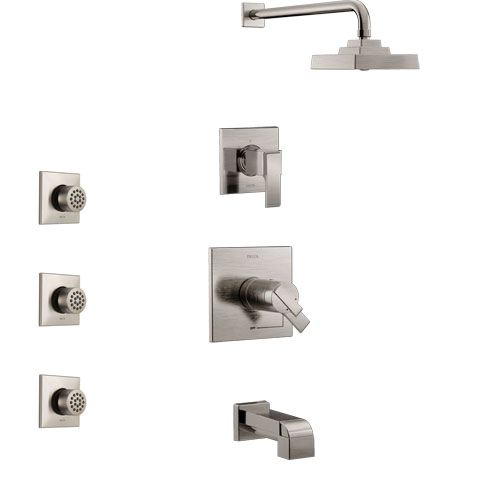 Delta Ara Stainless Steel Finish Tub and Shower System with Dual Thermostatic Control Handle, Diverter, Showerhead, and 3 Body Sprays SS17T4672SS2