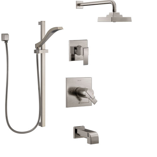 Delta Ara Stainless Steel Finish Tub and Shower System with Dual Thermostatic Control Handle, Diverter, Showerhead, and Hand Shower SS17T4672SS4
