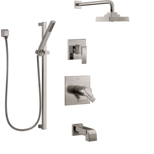 Delta Ara Stainless Steel Finish Tub and Shower System with Dual Thermostatic Control Handle, Diverter, Showerhead, and Hand Shower SS17T4672SS5