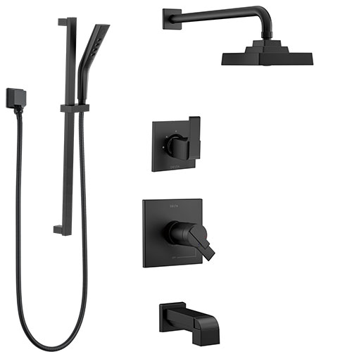 Delta Ara Matte Black Finish Thermostatic 17T Complete Tub and Shower System with Diverter, Showerhead, and Hand Sprayer on Slide Bar SS17T4673BL2