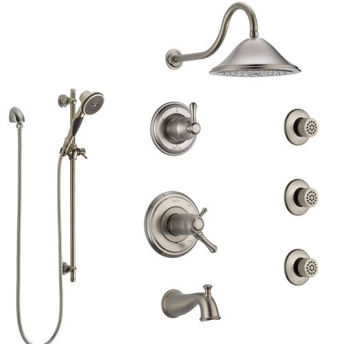 Delta Cassidy Stainless Steel Finish Dual Thermostatic Control Tub and Shower System, Diverter, Showerhead, 3 Body Sprays, and Hand Spray SS17T4971SS3